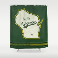 wisconsin Shower Curtains featuring Hello Wisconsin by Abby A