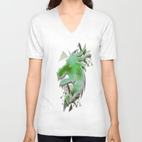 dragon V-neck T-shirts featuring Dragon by Sarah Maurer