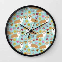 Corgis emoji pattern cute welsh corgis gifts for pure breed dog lovers Wall Clock