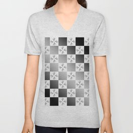 Pussy Checkerboard Abstract Unisex V-Neck
