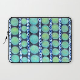 Rows of Blue Iridescent Circles Pattern Laptop Sleeve
