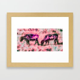 Cow Art - Grazing In Profile By Priya Ghose Framed Art Print