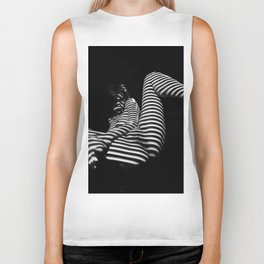 7379-KMA BW Naked Zebra Woman Spread Striped Legs Presenting Biker Tank