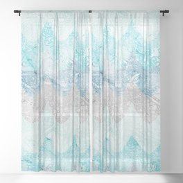 Light Aquamarine Mermaid Scales Waves Pattern Sheer Curtain