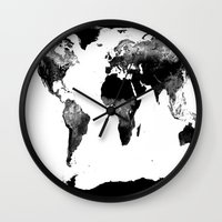 map of the world Wall Clocks featuring World Map  Black & White by WhimsyRomance&Fun
