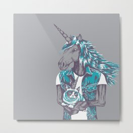 Awkward Unicorn Metal Print