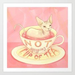 Not everyone's cup of tea - Sphynx Cat Art Print