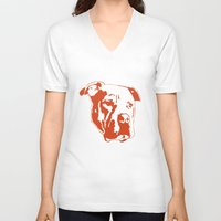pitbull V-neck T-shirts featuring COACH - ORANGE by Kirk Scott