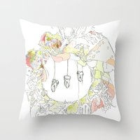 tooth Throw Pillows featuring sugar tooth by Cassidy Rae Marietta