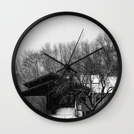 Chiemgau homestead in the snow storm | Chiemgauer Gehöft im Schneegestöber Wall Clock