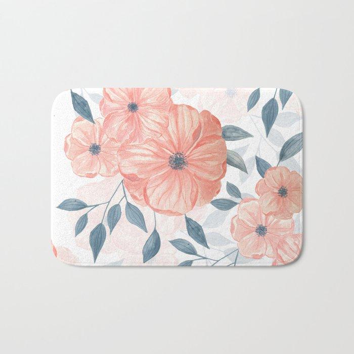 Seamless watercolor floral illustration. Bath Mat