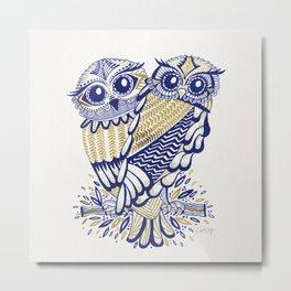 Owls – Navy & Gold Metal Print