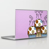 polkadot Laptop & iPad Skins featuring Cute Monster With Blue And Brown Polkadot Cupcakes by Mydeas