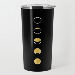Moon Phase, Lunar Cycle, Full Moon, Moon Cycle, Black and White, Faux Gold Foil, Modern, Minimalist Travel Mug