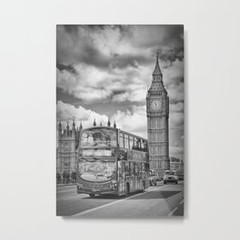 LONDON Houses of Parliament and traffic Metal Print