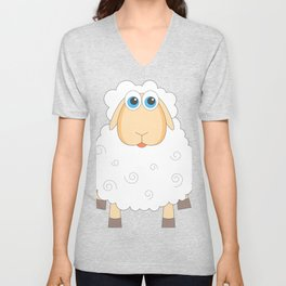 Lovely Cartoon Sheep Unisex V-Neck