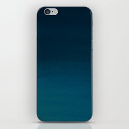 Navy blue teal hand painted watercolor paint ombre iPhone Skin