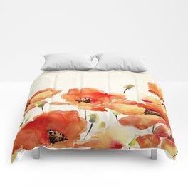 Poppy Flower Meadow- Floral Summer lllustration Comforters