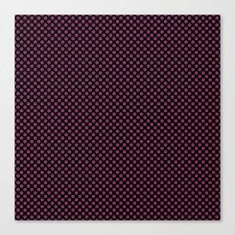 Black and Boysenberry Polka Dots Canvas Print