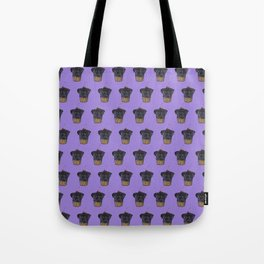 """Cherry on Pup"" Black Pug Cake Pattern Purple Tote Bag"