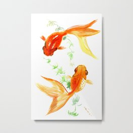Goldfish, Feng Shui Asian Watercolor Metal Print