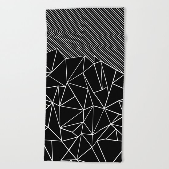 Ab Lines 45 Black Beach Towel
