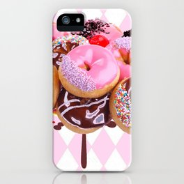 CHOCOLATE & PINK  STRAWBERRY GLAZED DONUTS ART iPhone Case