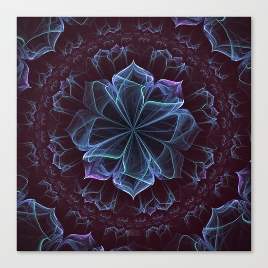 Ornate Blossom in Cool Blues Canvas Print