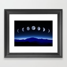 Moon Phases #blue Framed Art Print