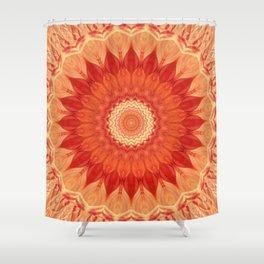 Mandala orange red Shower Curtain