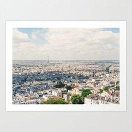 Eiffel Tower Aerial City View from Sacre Coeur Paris, France Art Print