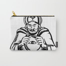Fortune Teller Eye on Crystall Ball Woodcut Carry-All Pouch