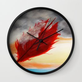 A RED FEATHER BLOWS NORTH Wall Clock
