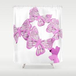 pink butterflies 3D Shower Curtain