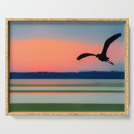 Seagull Sunset Abstract Serving Tray
