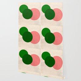Living Coral Green Vintage Mod Circles Wallpaper