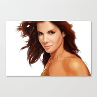 sandra dieckmann Canvas Prints featuring Sandra Bullock by RoPerez