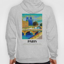 1957 Paris Notre Dame Cathedral French Travel Poster Hoody