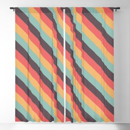 Retro Rainbow Stripes Blackout Curtain