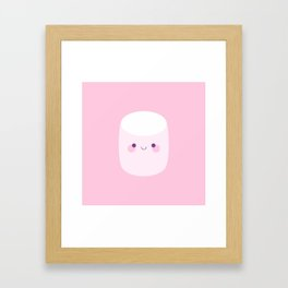 Cute pink marshmallows Framed Art Print