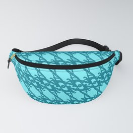 Braided diagonal pattern of wire and light blue arrows on a blue background. Fanny Pack