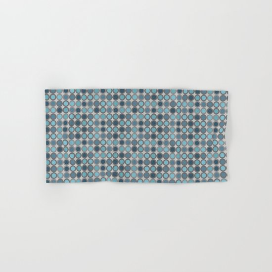 Grey blue circle 6 Hand & Bath Towel