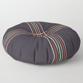 Retro Colored Thin Lined Cross Floor Pillow