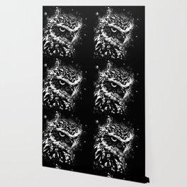 burrowing owl splatter watercolor black white Wallpaper