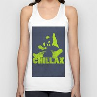lime green Tank Tops featuring chillax lime green grunge panda by Moonlake Designs