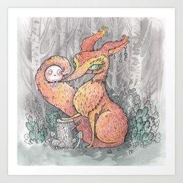 fox and cake Art Print