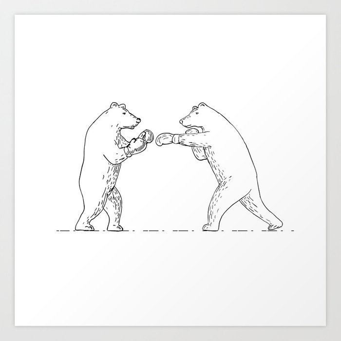Two Grizzly Bear Boxers Boxing Drawing Art Print By Patrimonio