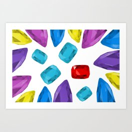 Ruby One Crystal - Precious Stones Abstraction Art Print