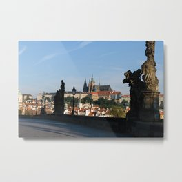 Castle from Charles bridge in Prague Metal Print