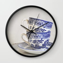Blue and white stacked china. Wall Clock